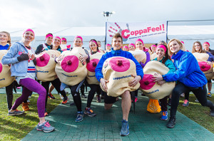 The CoppaFeel team in their inflatable boobs. Courtesy of www.coppafeel.org