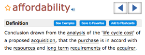 Definition of affordability