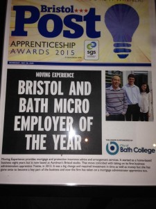 Newspaper headline showing Moving Experience Micro-employer of year